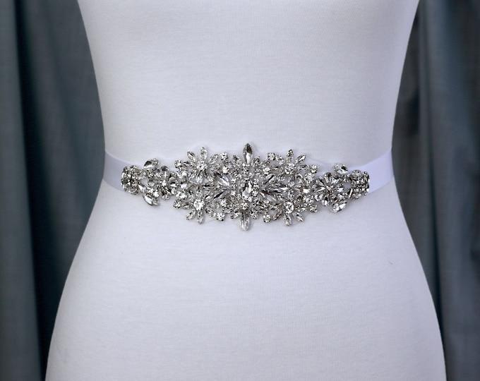 Bridal sash, Wedding Dress Belt, Wedding Sash Rhinestone prom belt, 72