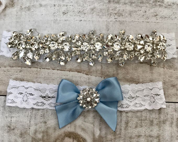 Wedding Garter set, NO SLIP grip Lace Wedding Garter Set, bridal garter set, WHITE CB04S-C29 with wide blue bow