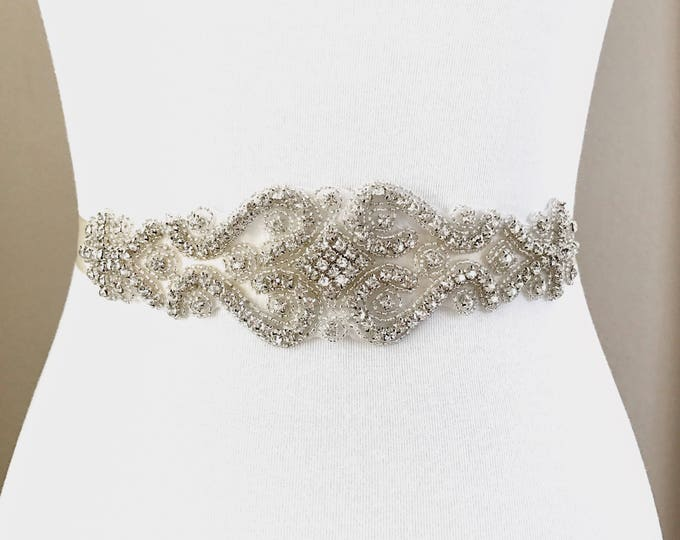 Bridal Belt, Bridal Sash, Wedding Belt, Wedding Sash Rhinestone and Pearl Sash, B12S