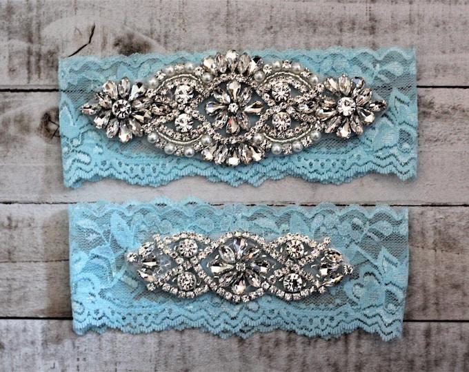 Something Blue Bridal Garter, Lace Wedding Garter Set, bridal garter set, pearl and rhinestone garter set Tiffany A01S-A02S