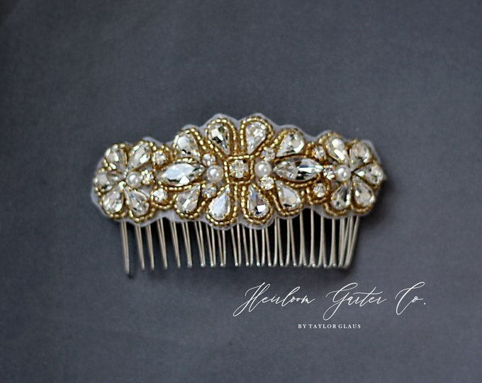 Wedding Hair Comb, Pearl and Rhinestone, Bridal Headpiece, Rhinestone Hairpiece, Bridesmaid, Hair Accessory, 57G