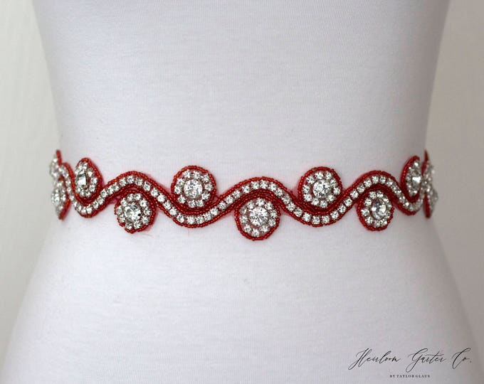 Red Belt, Rhinestone Dress Sash - The Perfect Elegant Wedding Dress Belt, B30 red
