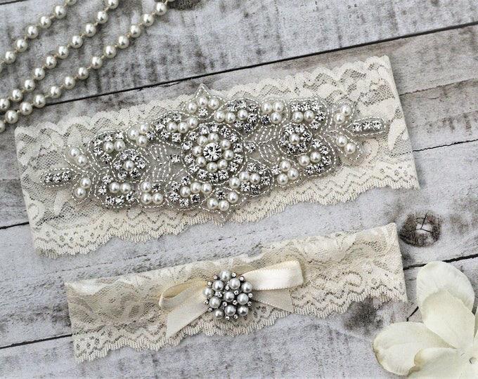 Pearl Ivory Wedding Garter Set NO SLIP grip vintage rhinestones, pearl and rhinestone garter set A08S-A*32