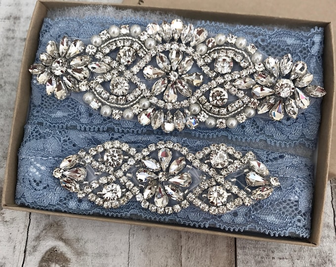 Wedding Garter, NO SLIP Lace Wedding Garter Set, bridal garter set, pearl and rhinestone garter set Dusty Blue B01S-C02S