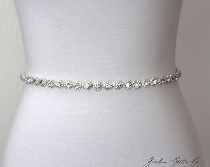 Dainty Rhinestone Belt, Crystal Bridal Belt, Bridal Sash, Wedding Belt, Wedding Sash Rhinestone Sash B10S