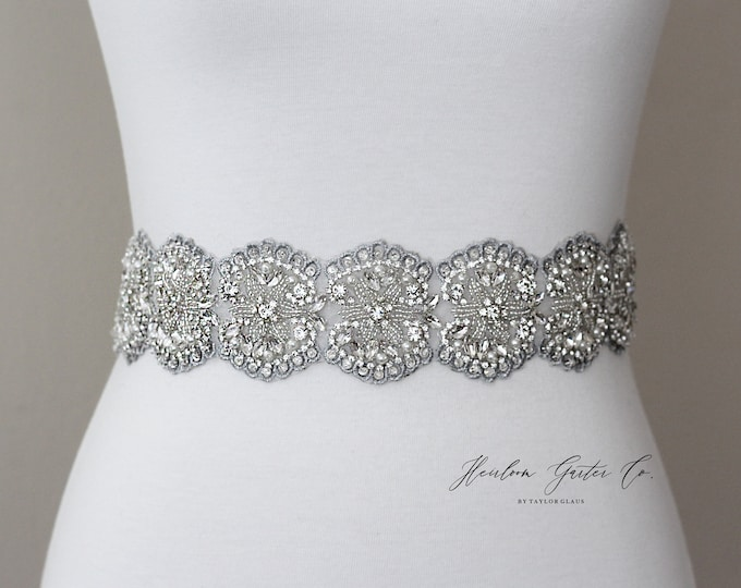 Floral Bridal Belt, Rhinestone Bridal Sash, Beaded Bridal Sash, Wedding Belt, Wedding Sash Rhinestone Sash B78