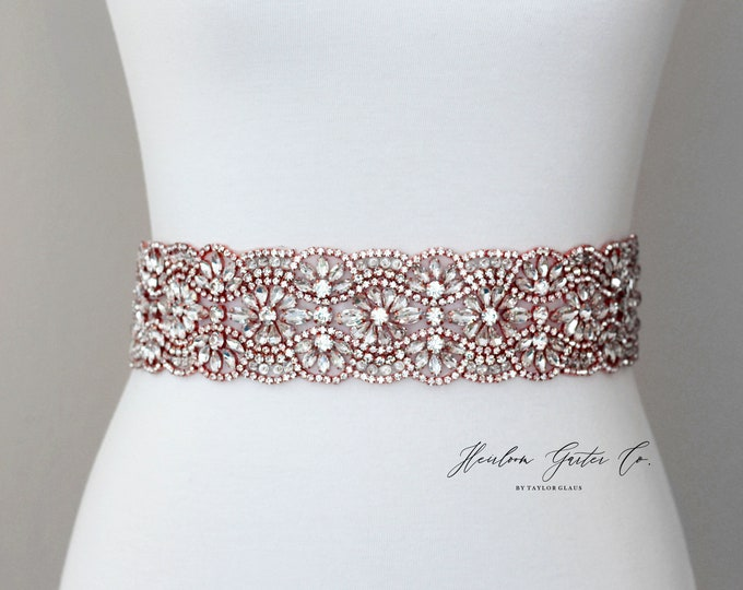 Bridal Belt Rose Gold, Bridal Sash, Wedding Belt, Wedding Sash Rhinestone and Pearl Sash B79RG