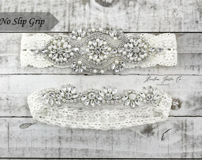 Pearl Bridal Garter, NO slip Lace Wedding Garter Set, bridal garter set, pearl and rhinestone garter set IVORY B05S-CB05S