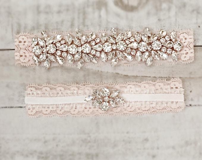 Blush Bridal Garter, wedding garter set, NO SLIP Lace Wedding Garter Set, bridal garter DB04RG-DF51RG