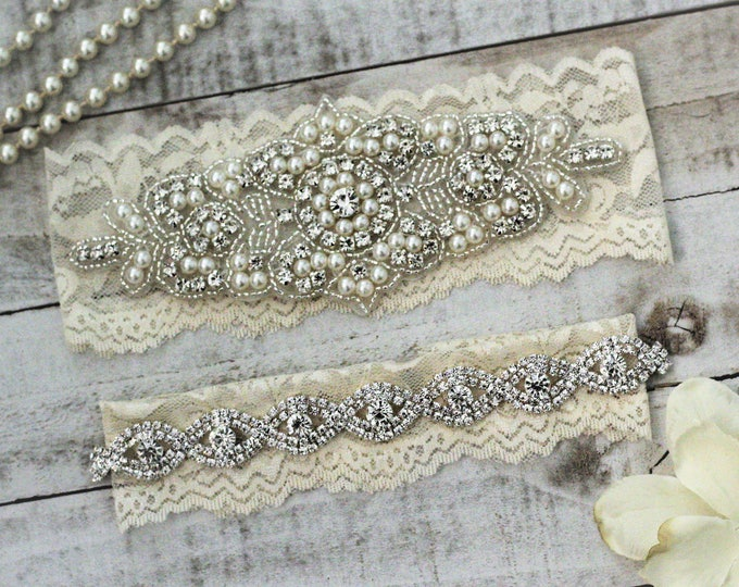 Pearl Bridal Garter Set NO SLIP grip vintage rhinestones, pearl and rhinestone garter set, wedding garters A08S-A*B19S