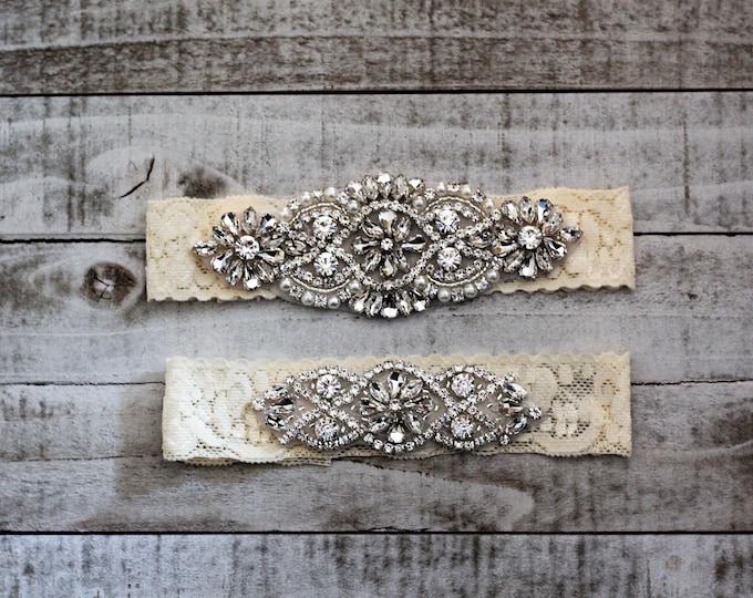 SALE Lace Wedding Garter Set, bridal garter set, vintage rhinestones, pearl and rhinestone garter set C01S-C02S