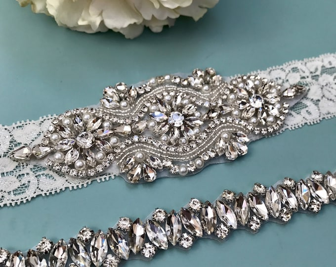 Wedding garter, Elegent antique ivory Wedding Garter Set NO SLIP grip vintage rhinestones bridal garter B05S-EB13
