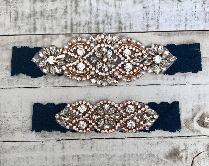 Rose gold Bridal Garter, navy garter, NO SLIP Lace Wedding Garter Set, bridal garter set, vintage something blue D01RG-D02RG
