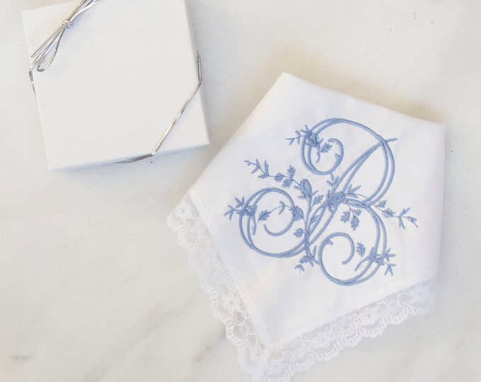 Embroidered wedding handkerchief, custom handkerchief, mother of the bride gift, happy tears handkerchief EMBROIDERED style 008