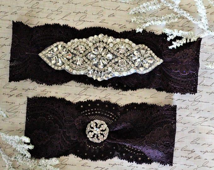 Plum Bridal Garter Set NO SLIP grip vintage rhinestones pearl lace rhinestone, PLUM G01S-G19