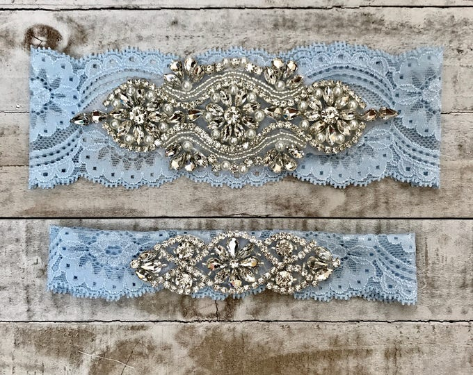 SALE - something blue Wedding Garter Set, pearl lace rhinestone, BLUE G05S-G*02S