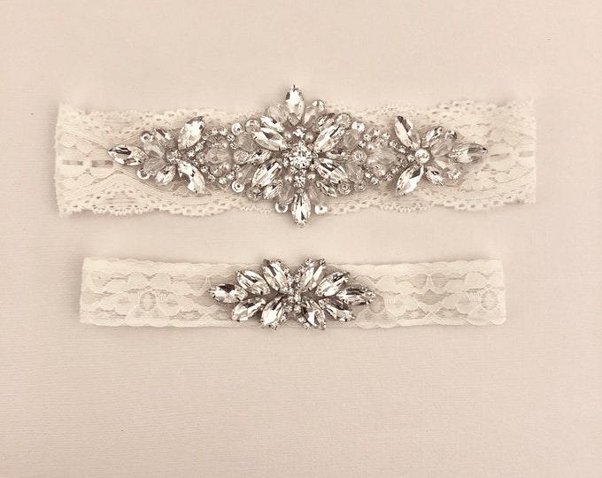Wedding Garter, NO SLIP Lace Wedding Garter Set, bridal garter set, vintage rhinestones B79S-C21