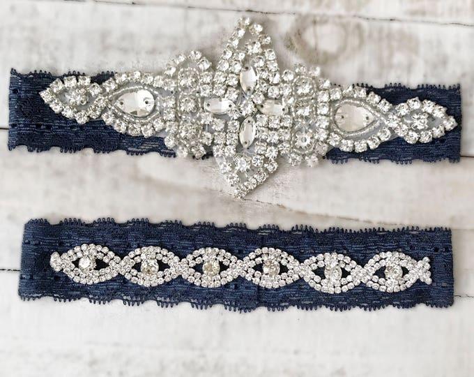 Navy Bridal Garter, navy garter, NO SLIP Lace Wedding Garter Set, bridal garter set, NAVY D03S-DB19S
