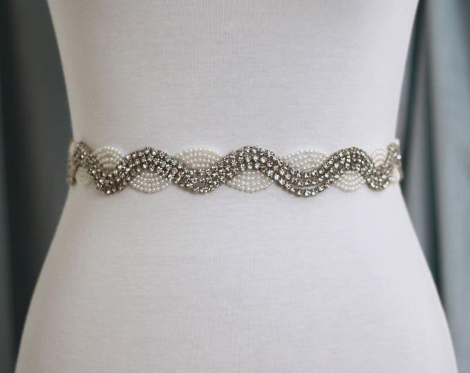 Pearl Bridal Sash - The Perfect Wedding Sash Rhinestones and Pearls B15