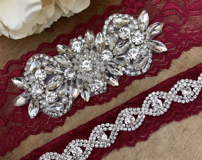 Burgundy Red Wedding Garter Set NO SLIP grip vintage rhinestones A26-A*B19S