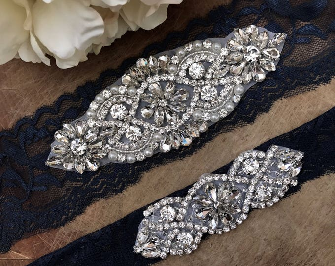 Navy Wedding Garter Set NO SLIP grip vintage rhinestones, pearl and rhinestone garter set, Something Blue NAVY A01S-A*02S