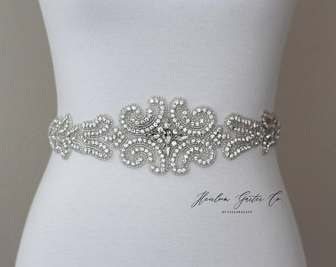 Rhinestone Bridal Belt, Bridal Sash, Beaded Bridal Sash, Wedding Belt, Wedding Sash Rhinestone Sash B80