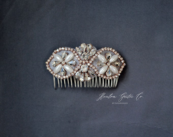 Rose Gold Wedding Hair Comb, Pearl and Rhinestone, Bridal Headpiece, Rhinestone Hairpiece, Hair Jewelry, Bridesmaid, Hair Accessory, 62RG