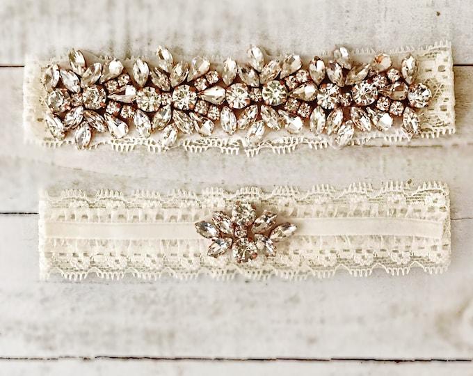 Wedding Garter, wedding garter set, NO SLIP Lace Wedding Garter Set, bridal garter IVORY DB04RG-DF51RG