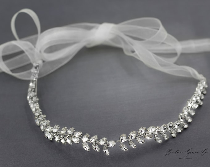 Boho Wedding Hairpiece, Leaf  headband, Silver Wedding Headband, Bridal Headpiece, Rhinestone Headband H01