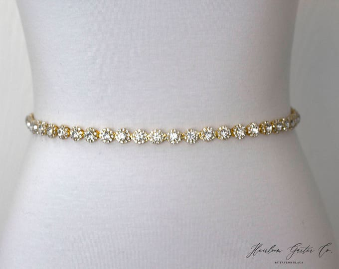 Gold Dainty Rhinestone Belt, Crystal Bridal Belt, Bridal Sash, Wedding Belt, Wedding Sash Rhinestone Sash