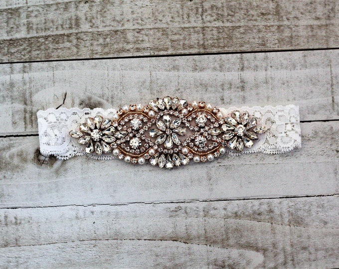 SALE - Rose Gold Bridal Garter, Lace Wedding Garter Set, bridal garter set, vintage rhinestones WHITE C01RG