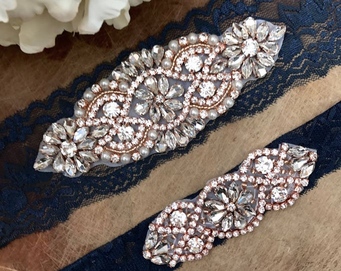 Rose gold wedding garter, Blue Wedding Garter Set NO SLIP grip vintage rhinestones NAVY A01RG-A*02RG