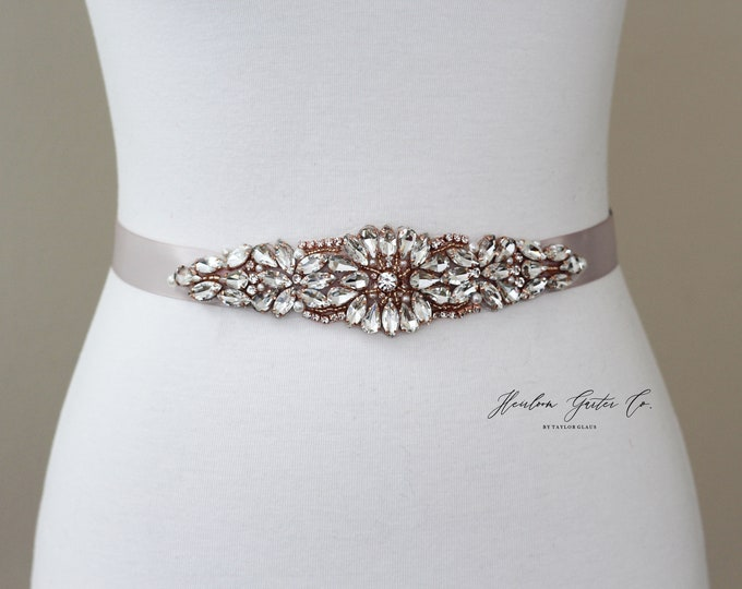 Rose Gold Bridal Belt, Bridal Sash, Beaded Bridal Sash, Wedding Belt, Wedding Sash Rhinestone Sash B62RG