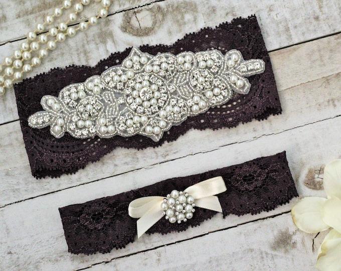 Plum Bridal Garters, purple wedding garters, Set NO SLIP grip, pearl lace rhinestone, purple garter, PLUM G08S-G*32
