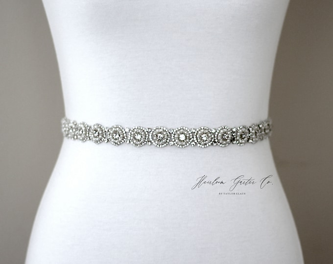Dainty Pearl Bridal Belt, Rhinestone Bridal Sash, Beaded Bridal Sash, Wedding Belt, Wedding Sash Rhinestone Sash