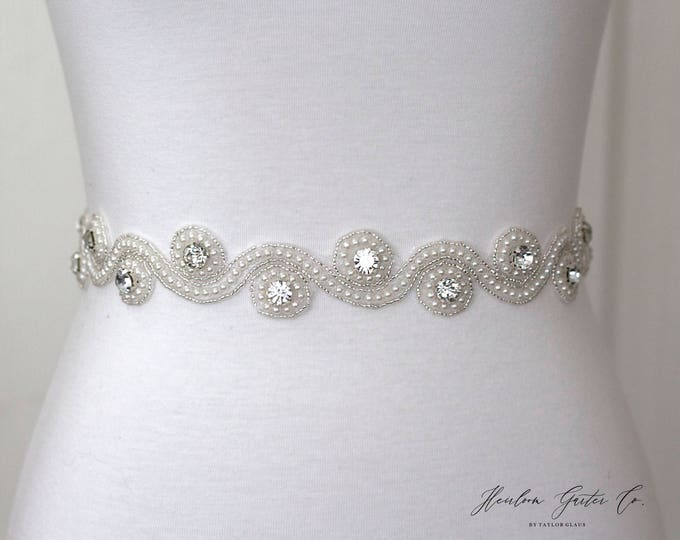 Pearl Bridal Belt, Bridal Sash, Wedding Belt, Wedding Sash Rhinestone and Pearl Sash, B30 pearl