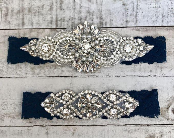 Navy wedding garter, Something Blue Bridal Garter, NO SLIP Lace Wedding Garter Set, bridal garter set, vintage rhinestones D04S-D02S