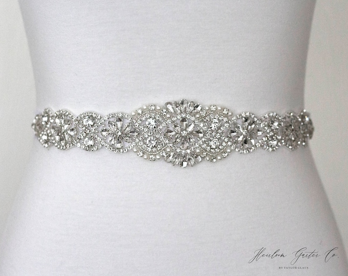 Bridal Belt, Bridal Sash, Wedding Belt, Wedding Sash Rhinestone and Pearl Sash BO3S