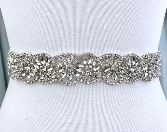 Silver crystal Bridal Belt, Bridal Sash, Wedding Belt, Wedding Sash Rhinestone prom belt, B14