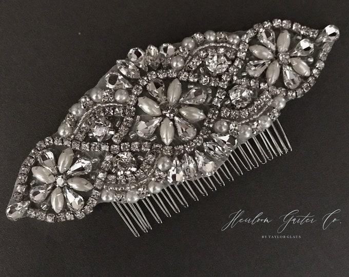 Wedding Hair Comb, Pearl and Rhinestone, Bridal Headpiece, Rhinestone Hairpiece, Hair Tiara, Hair Jewelry, Bridesmaid, Hair Accessory, 52S