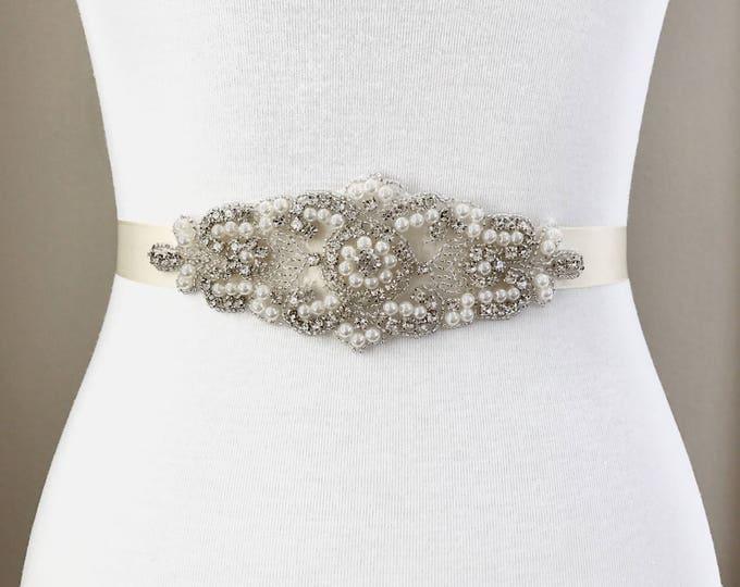 Bridal Belt, bridesmaid belt, Bridal Sash, Wedding Belt, Wedding Sash Rhinestone and Pearl Sash, 08S