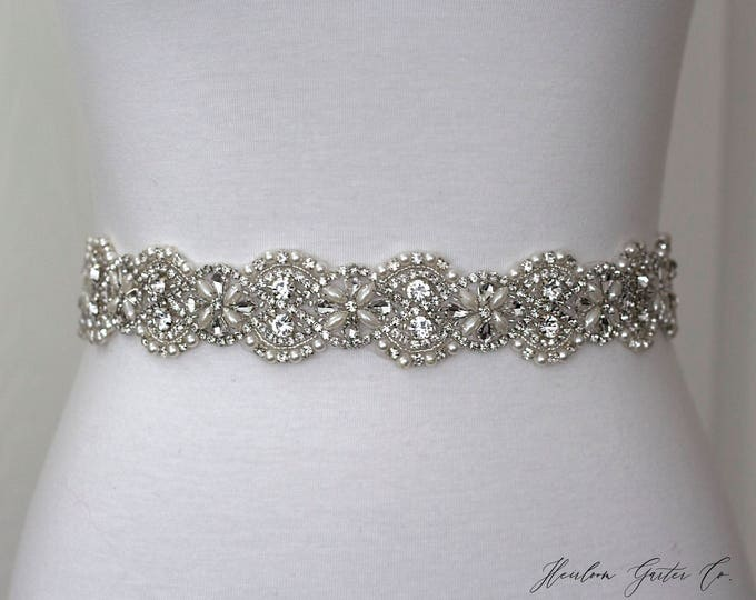 Pearl Bridal Belt, Bridal Sash, Wedding Belt, Wedding Sash Rhinestone and Pearl Sash, B20