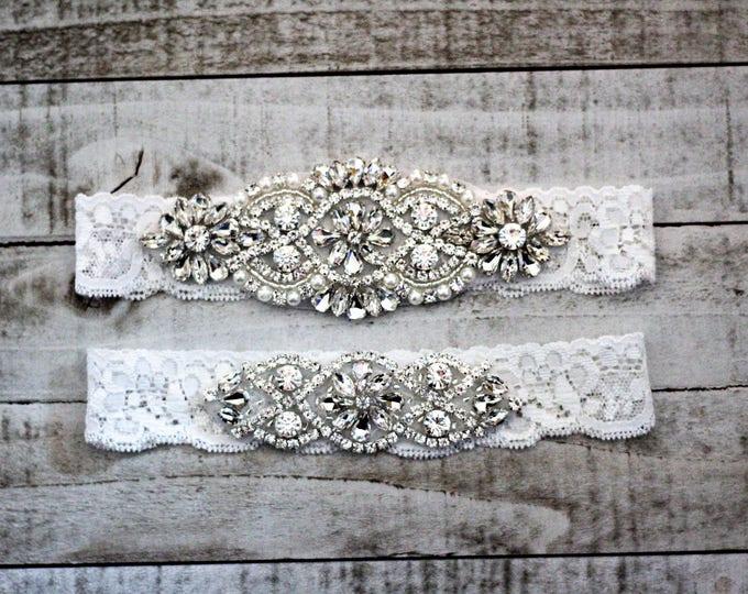 White Lace Wedding Garter Set, bridal garter set, vintage rhinestones, pearl and rhinestone garter set C01S-C02S