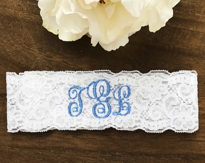 Monogram Wedding garter, embroidered bridal garter, something blue, custom wedding garters B monogram