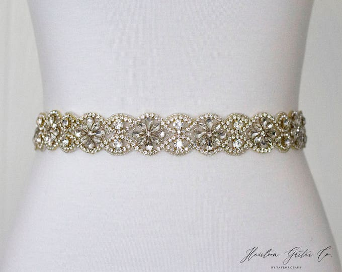Gold Bridal Belt, Bridal Sash, Wedding Belt, Wedding Sash Rhinestone Sash, B35G