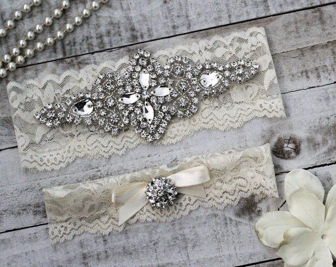 Ivory Wedding Garter Set NO SLIP grip, IVORY A03S-A*29