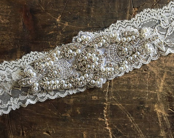 Wedding Garter NO SLIP grip vintage rhinestones, pearl wedding garter, IVORY A08S