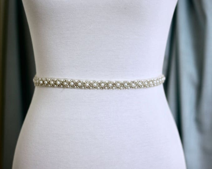 Dainty Bridal Belt pearls, Bridal Sash, Wedding Belt, Wedding Sash Pearl Sash B21