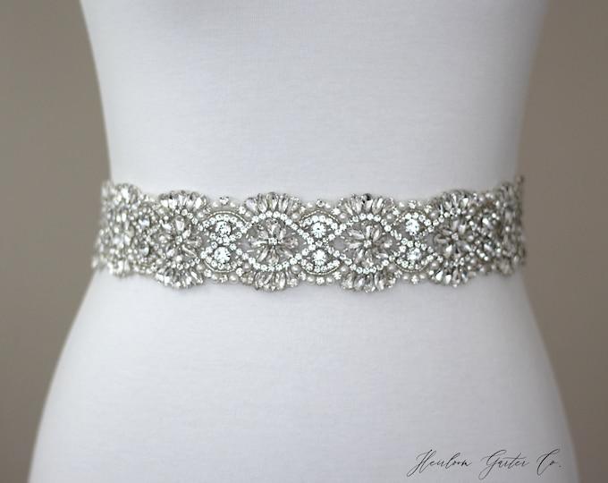Bridal Belt, Floral Rhinestone Bridal Sash, Beaded Bridal Sash, Wedding Belt, Wedding Sash Rhinestone Sash B74S