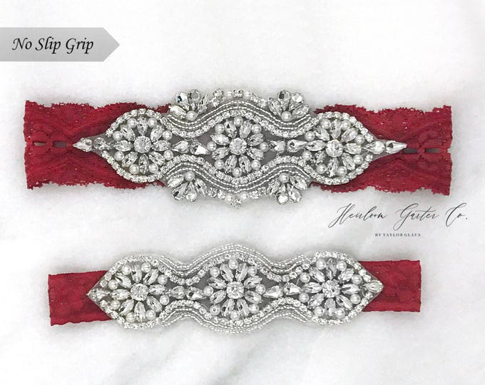 Red Wedding Garter, NO SLIP Lace Wedding Garter Set, bridal garter set, vintage rhinestones B05S-C24